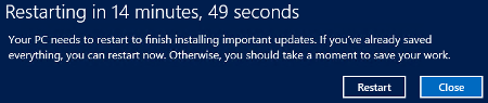 Restarting in 15 minutes. Windows server 2012 R2