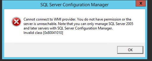 SQL 2012 cannot connect ot wmi provider