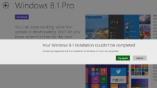upgrade to windows 8.1 fails