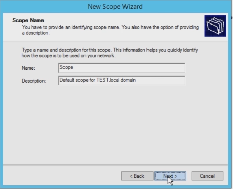 new scope wizard dhcp
