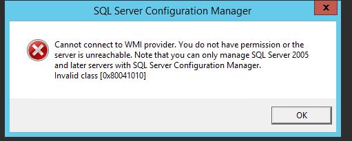 SQL 2012 cannot connect ot wmi provider