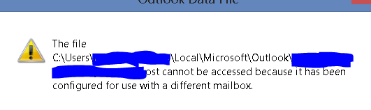 OST cannot be accessed because it is configured for a different mailbox error