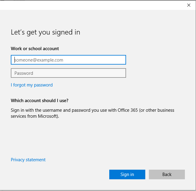 type in your azure ad credentials