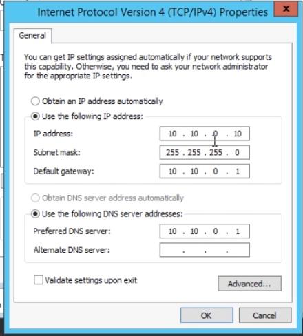 static IP address config server 2012 r2
