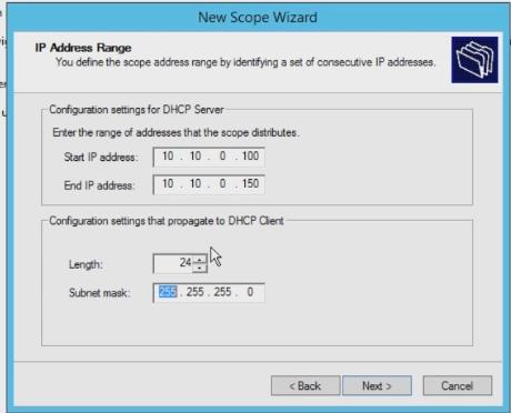 scope ip dhcp
