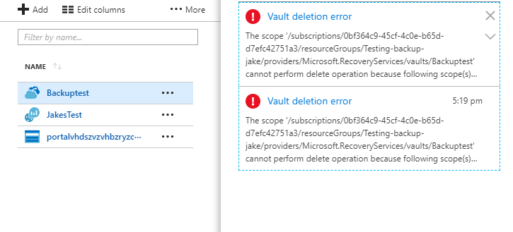 Azure – Vault Deletion Error – Cannot perform delete operation because the scope is locked